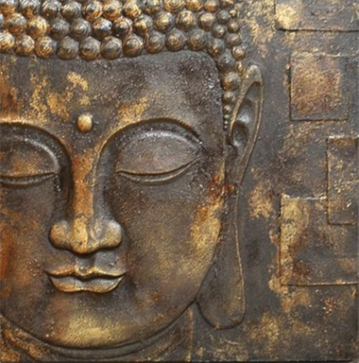 Black Amp Gold Buddha With 3d Textured Detail Canvas Wall