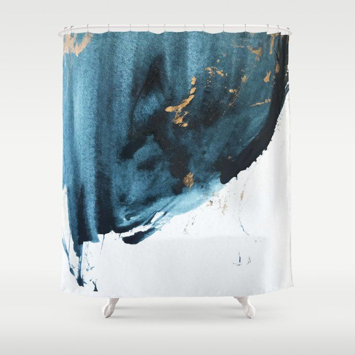 Buy Sapphire And Gold Abstract Shower Curtain By