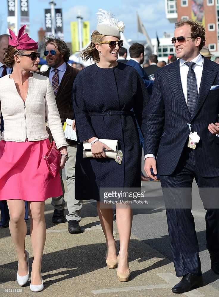 Zara Phillips walks to the parade ring on Day 3 of the Aintree races at Aintree Racecourse on...