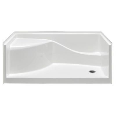 aquatic coronado 60 in x 30 in single threshold shower pan in white