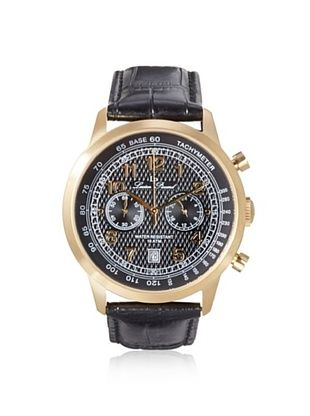 75% OFF Lucien Piccard Men's 10526-YG-01 Ferden Black Textured Leather Watch