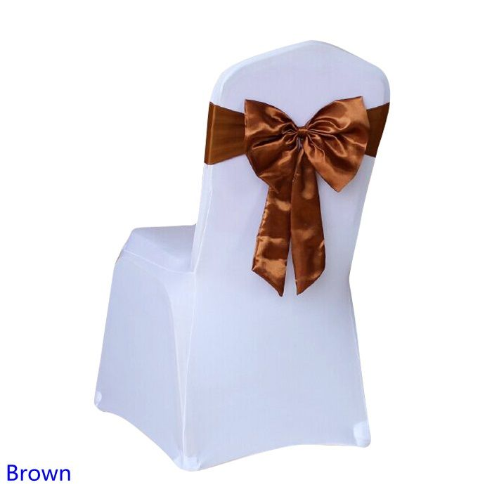 Brown Colour chair sash Butterfly style satin sash with lycra sash fit all chairs spandex wedding chair sash wholesale