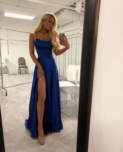 A Line Sweetheart Spaghetti straps Open Back Royal Blue Long Prom Dresses, Simpl…