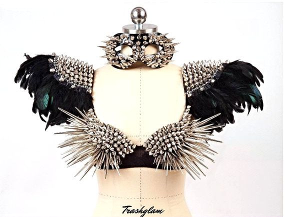 Over the top high fashion black feathers spike Epaulettes shoulder harness  -Statement piece epaulet edgy fashion