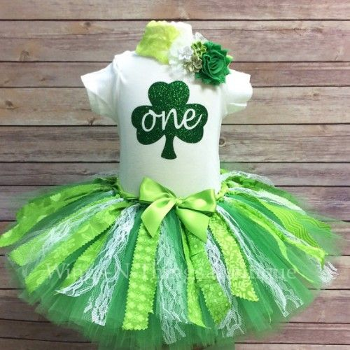 3pc ST PATRICKS DAY FIRST BIRTHDAY FABRIC Tutu Skirt Set w/ Body Suit and Shabby Headband  You pick the birthday, 1/2, one, two or three!!  My adorable handmade Tutu Skirt Set is perfect for a cake sm