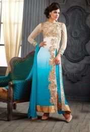 Beautiful & Trendy Turquoise Color A Liner Salwar Suit