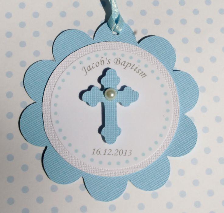 Baptism Favor Tags Blue Set of 12 by StudioDris on Etsy, $10.00