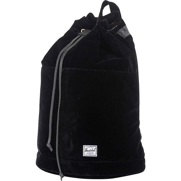 Herschel Supply Co. Hanson Velvet Backpack ($85) ❤ liked on Polyvore featuring bags, backpacks, black, school & day hiking backpacks, lightweight backpack, black drawstring bag, strap backpack, backpacks bags and black polka dot backpack