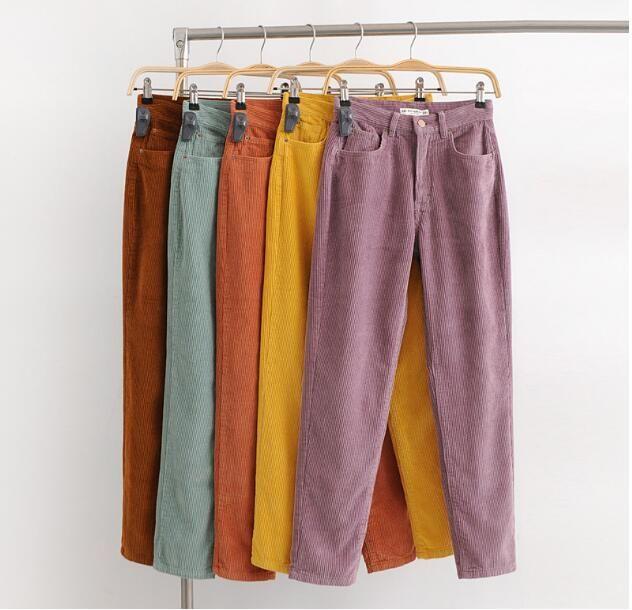Vintage Macaroon Color Corduroy Mid Waist Ankle Length Loose Harem Pants | Pastel  pants, Mid waist pants, Corduroy pants