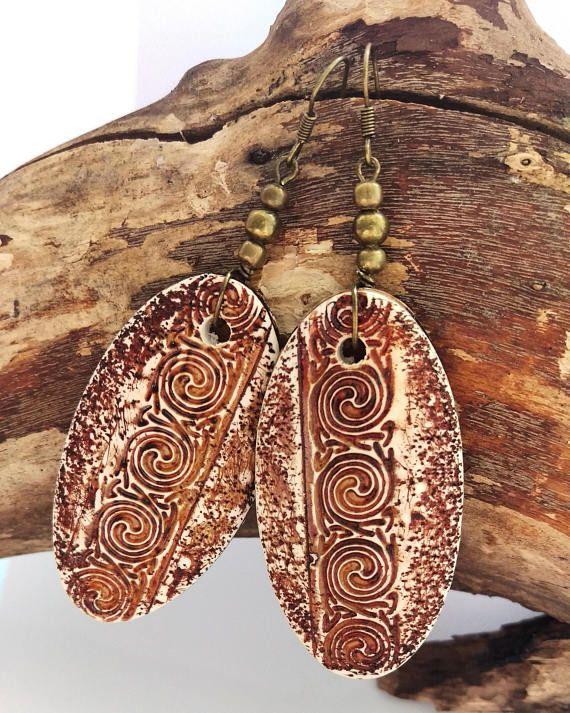 Polymer clay earrings Owal earrings Vintage earrings Boho