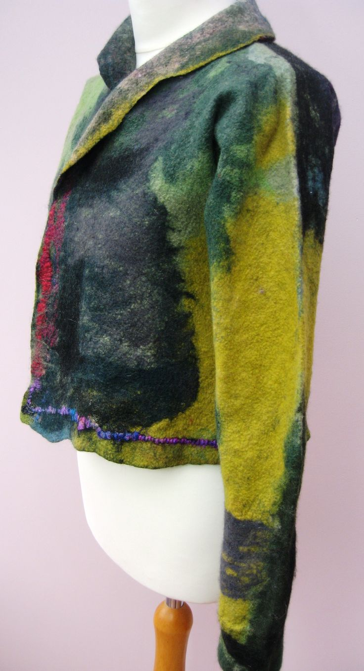 Hand made felted jacket.  Merino wool and silk fibres.
