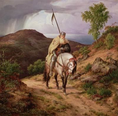 """""""The Returning Crusader"""" by Carl Friedrich Lessing"""