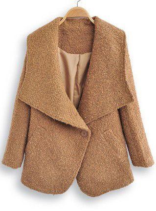 Brown Lapel Long Sleeve Single Button Coat