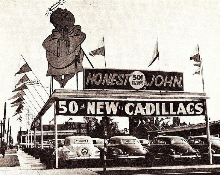 """Honest John's"" used car lot, Los Angeles, CA 1947"