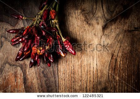 red dry chilli chilies on wood print: $15