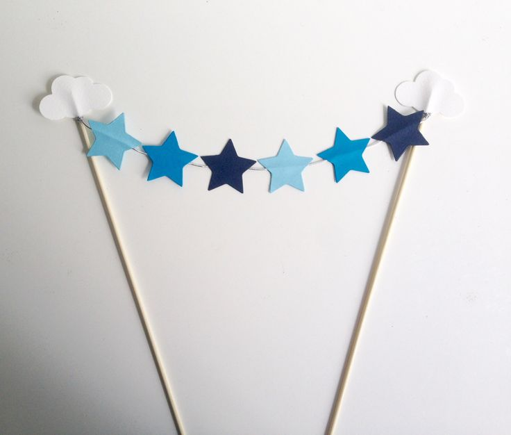 Clouds and Stars Birthday Party Bunting Cake Toppers by ConfettiDay on Etsy https://www.etsy.com/listing/228646800/clouds-and-stars-birthday-party-bunting