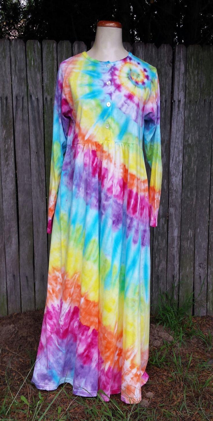 Tie dye hippie nightgown Organic Cotton - Size L by DyingDazeTieDye on Etsy