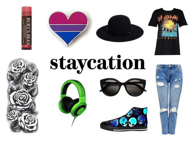 """Staycation"" by gothicvamperstein on Polyvore featuring Boohoo, Siggi, Razer, Burt's Bees and staycation"
