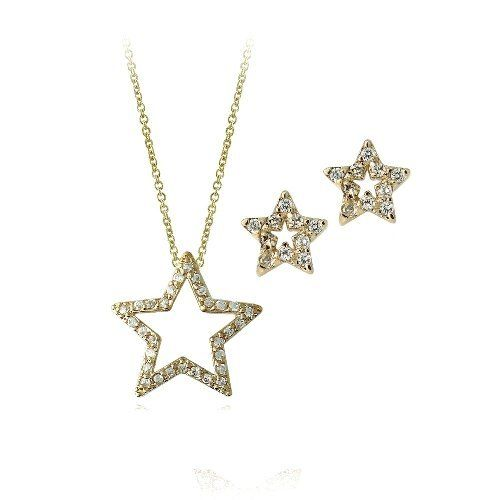 18K Gold over Sterling Silver CZ Open Star Necklace & Earrings Set SilverSpeck.com. $59.99