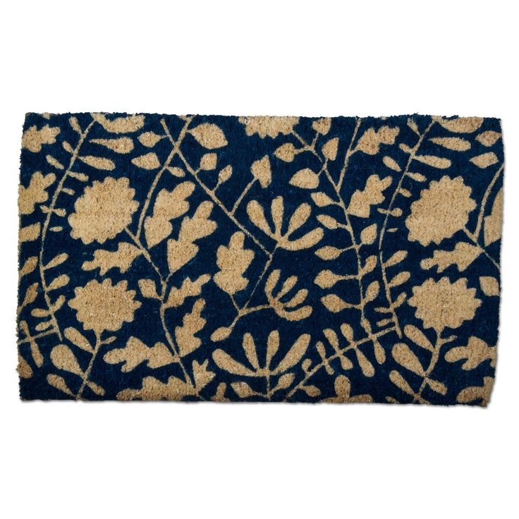 This Blue Floral Coir Door Mat Is Perfect!