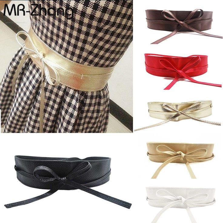 2016 New Fashion Women Dress belt Soft PU Leather Wide Self Tie Wrap Around Waist Accessories Freeshipping