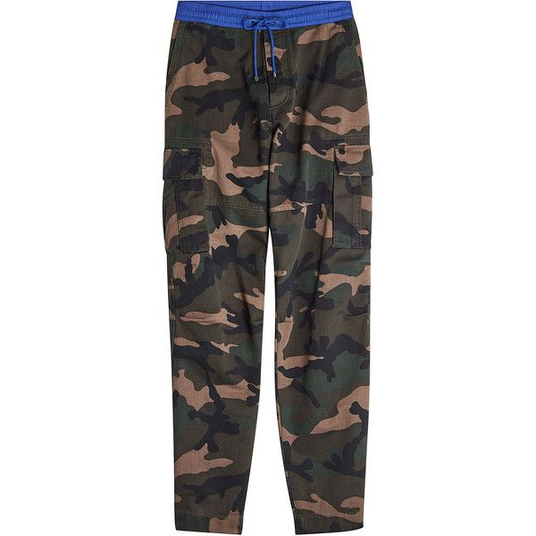 Valentino Camouflage Cotton Pants (42,140 THB) ❤ liked on Polyvore featuring men's fashion, men's clothing, men's pants, men's casual pants, green, men's casual cotton pants, mens camouflage pants, mens tapered pants, mens green pants and mens camo pants