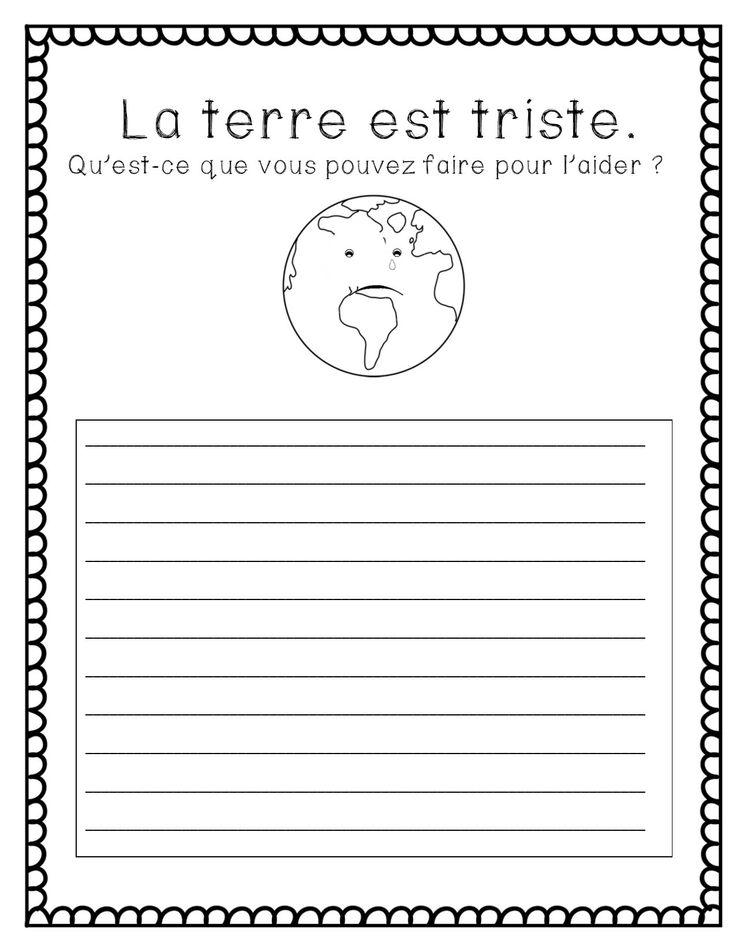 $ Jour de la Terre - environnement feuilles d'écriture