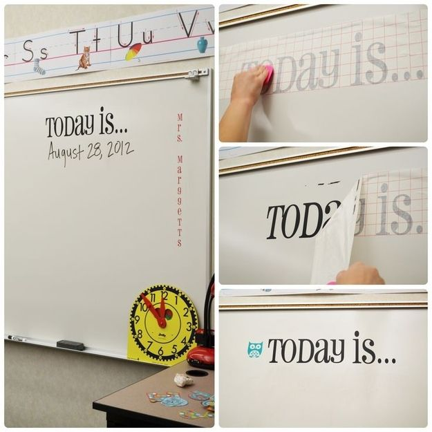 Use vinyl transfers to make semi-permanent decals for words you don't want to have to rewrite everyday. | 36 Clever DIY Ways To Decorate Your Classroom