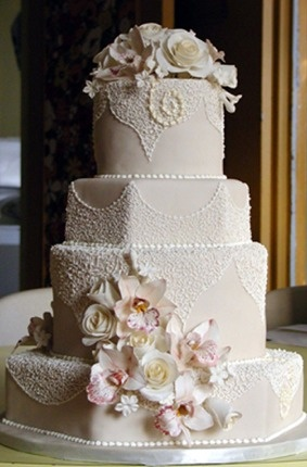 Wedding Cake of My Dreams... Replacing pink flowers for lavender and sage.
