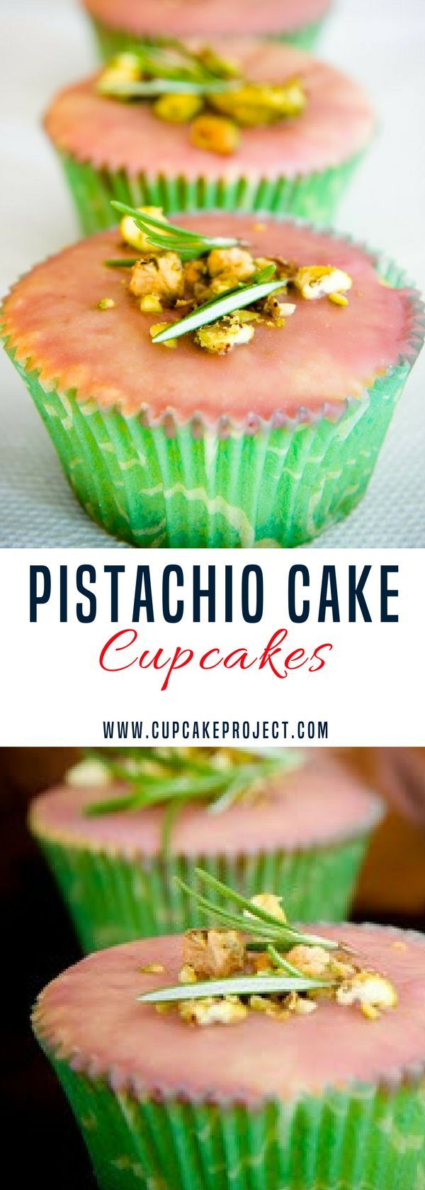 Looking for pistachio cake recipes? You better try this Pistachio Cake Cupcakes with Rosemary and a Cherry Glaze- this cake isn't green – there is no green food coloring and no instant pudding. More easy and from scratch baking recipes from #CupcakeProject #stpatricksday #cupcake #cake