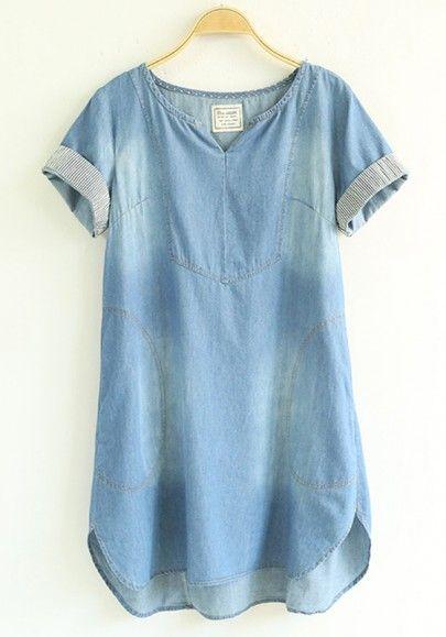 Denim Short Sleeve Dress