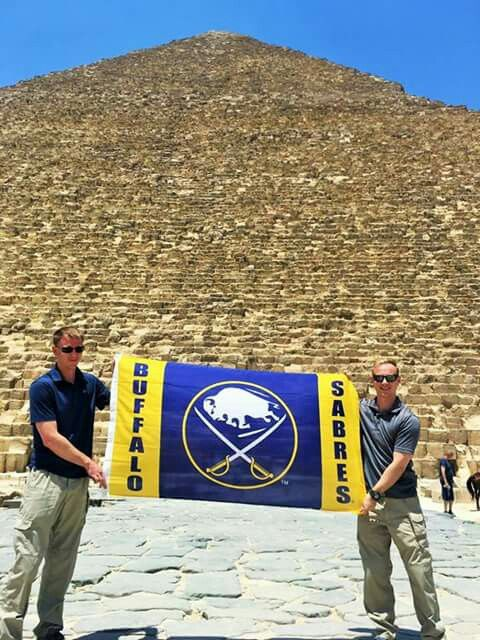 The Buffalo Sabres Ice Hockey team(New York) at the great pyramids of Giza, Welcome to Egypt  Photo credit: https://twitter.com/BuffaloSabres  #Egypt, #traveller, #blogger, #Egyptian, #tourists, #tourism, #Egyptology, #visit_Egypt, #civilization, #history, #travel, #holiday, #world, #pyramids, #Egypte, #Agypten, #Egipt, #Egipto, #Egitto, #Египет, #مصر, #मिस्र, #エジプト #埃及, #Egypten, #Egypt, #Αίγυπτος, #South_Africa