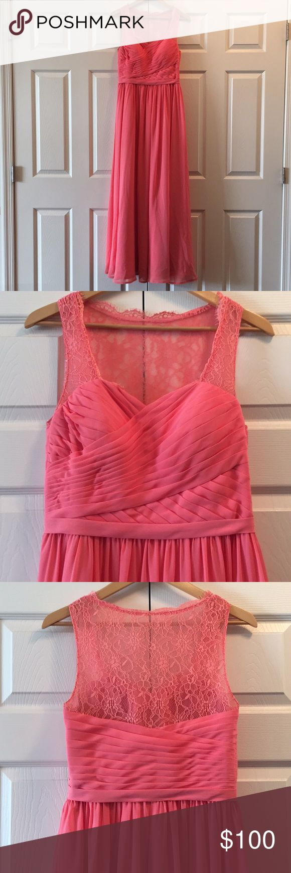 """Azazie Bridesmaid/Formal Dress Coral Azazie Bridesmaid/Formal Dress, in great condition. Top is sweetheart neckline with lace straps and back, zipper down the side. Wore once this summer for a wedding and had dry-cleaned. May still be a couple spots on the bottom because it was a little long, however hardly noticeable. I did have it hemmed and taken in. Length total is ~59"""". Top part to skirt is ~16"""", skirt to floor is ~43. Width across bust is 16.5"""", across waist is 14"""". Comes with matching…"""