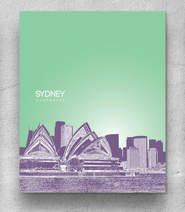 Melbourne Australia City Skyline / Hometown Wall Art Poster / Any City or Landmark. $20.00, via Etsy.