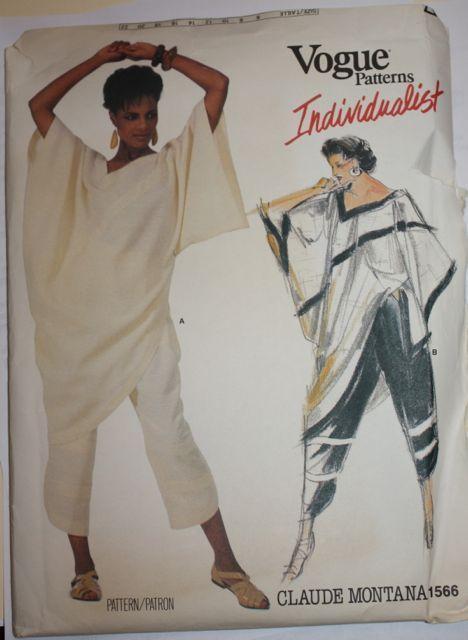 Vogue Designer Individualist  Claude Montana Top/Pants Pattern 1566-  S 16 Uncut