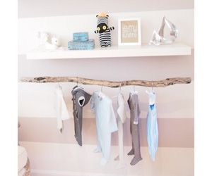 tree branch as natural nursery decor to hang letters of name or to make a mobile.
