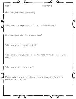 Welcome-Packet-Open-house-forms-1342704 Teaching Resources - TeachersPayTeachers.com