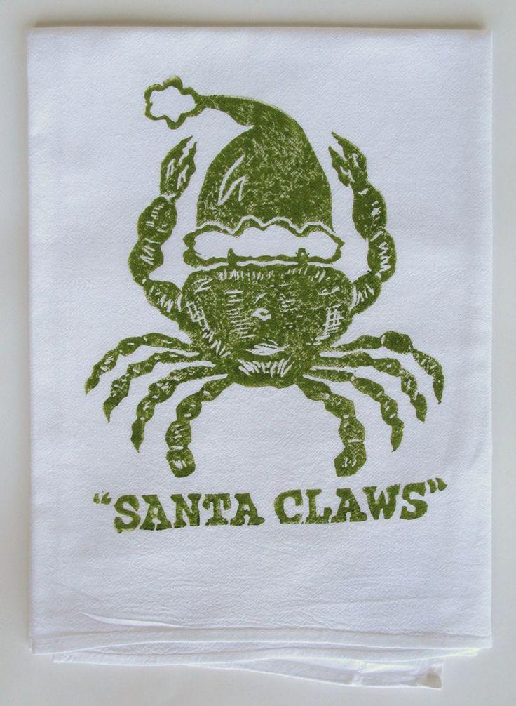 Dark Green Santa Claws Kitchen Towel: Beach Decor, Coastal Home Decor, Nautical Decor, Tropical Island Decor & Beach Cottage Furnishings