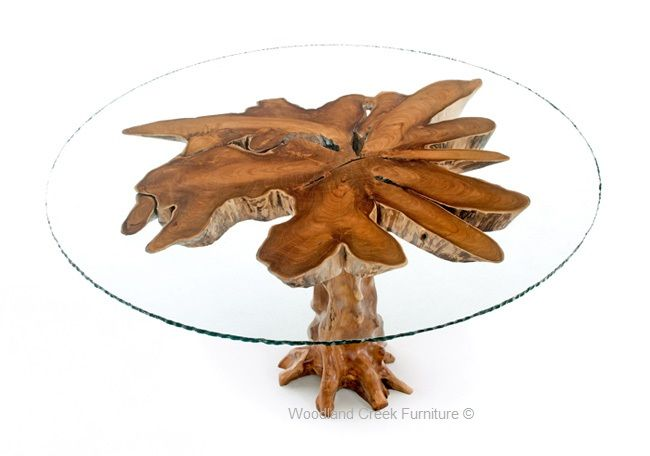 Natural Wood Table with Glass Top