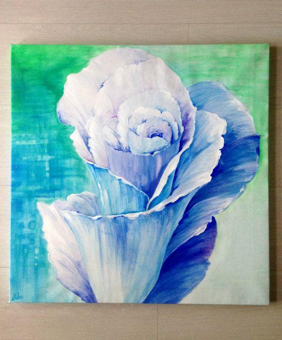 Grande fiore blu dipinto su tela/ Grande di PaintingsByCipeciop  #Etsy