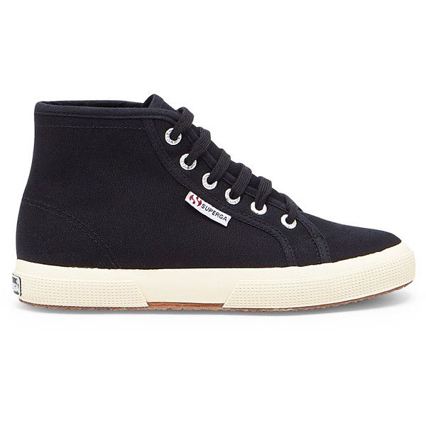 Superga 2095 Cotu High Top Sneaker ($69) ❤ liked on Polyvore featuring shoes, sneakers, black, black trainers, black canvas shoes, black canvas high tops, black shoes and black high tops