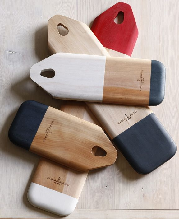The color-blocked cutting boards from Lostine are a beautiful reinterpretation of a simple household item and made in Philadelphia. -Michael Williams #cultureclubKitchens, Cutting Boards, Baguette Boards, Households Items, Cut Boards, Block Baguette, Colors Block, Products, Lostine Cut