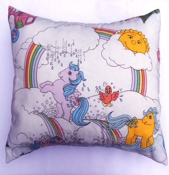 Gorgeous My Little Pony Cushion covers. Beautifully handmade from rare vintage My Little Pony Fabric, by Alien Couture. 17 x 17 approx Cushions