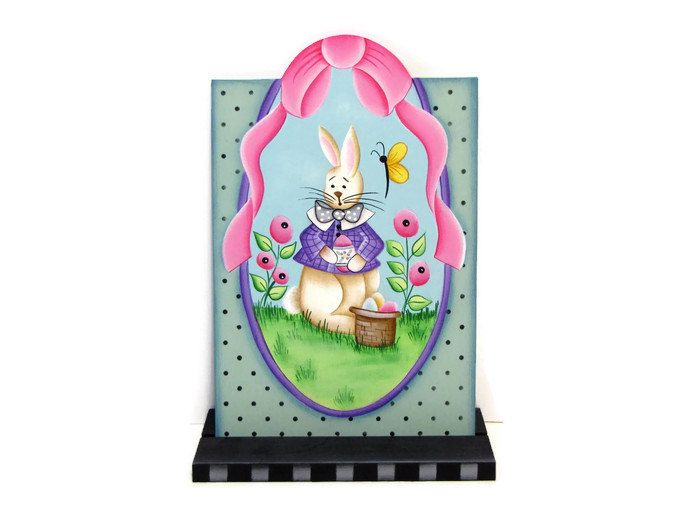 Spring Bunny and Posies Handpainted Wood Tag, Hand Painted Shelf Sitter, Easter Bunny Decor, Tole Decorative Painting by ToleTreasures on Etsy