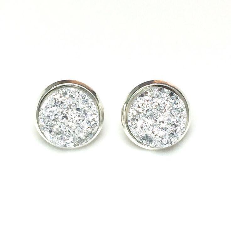 Silver Druzy stud earrings -  8 or 12 mm faux druzy - bridesmaid gift idea Canada - silver stud earrings - Silver earrings Canada - Bridal by AnisasClayCreations on Etsy https://www.etsy.com/ca/listing/450353814/silver-druzy-stud-earrings-8-or-12-mm