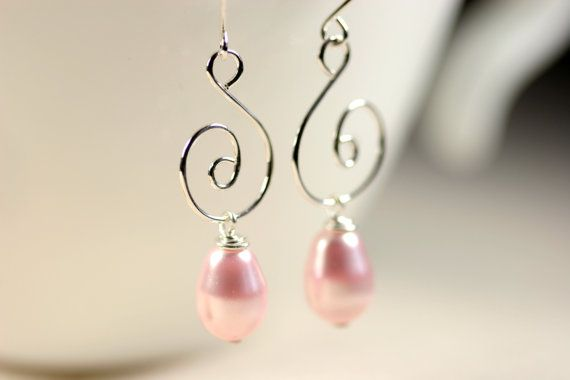 Pink Pearl Earrings Wire Wrapped Jewelry by JessicaLuuJewelry, $20.00
