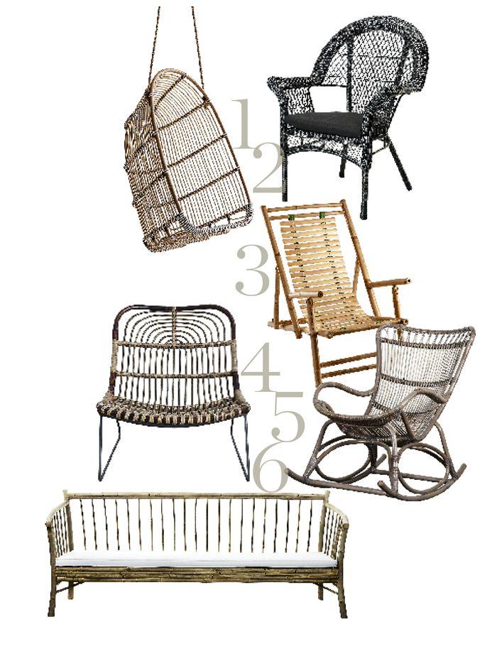 There are no language barriers with style. 1.Hengestol, Holly Swing, ny versjon av den klassiske modellen Renoir, kr 2.845, Sika-Design. 2. Kurvstol, Älmsta, kr 695, Ikea. 3. Loungestol, Kawa, kr 2016, House Doctor. 4. Solstol i bambus, kr 699, Åhléns. 5. Sofa med hvit pute, kr 5000, Tine K Home. 6. Gyngestol, Monet, kr 4295, Home & Cottage. http://elleblogg.no/elledecoration/