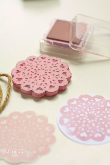 heart lace rubber stamp! so pretty :D