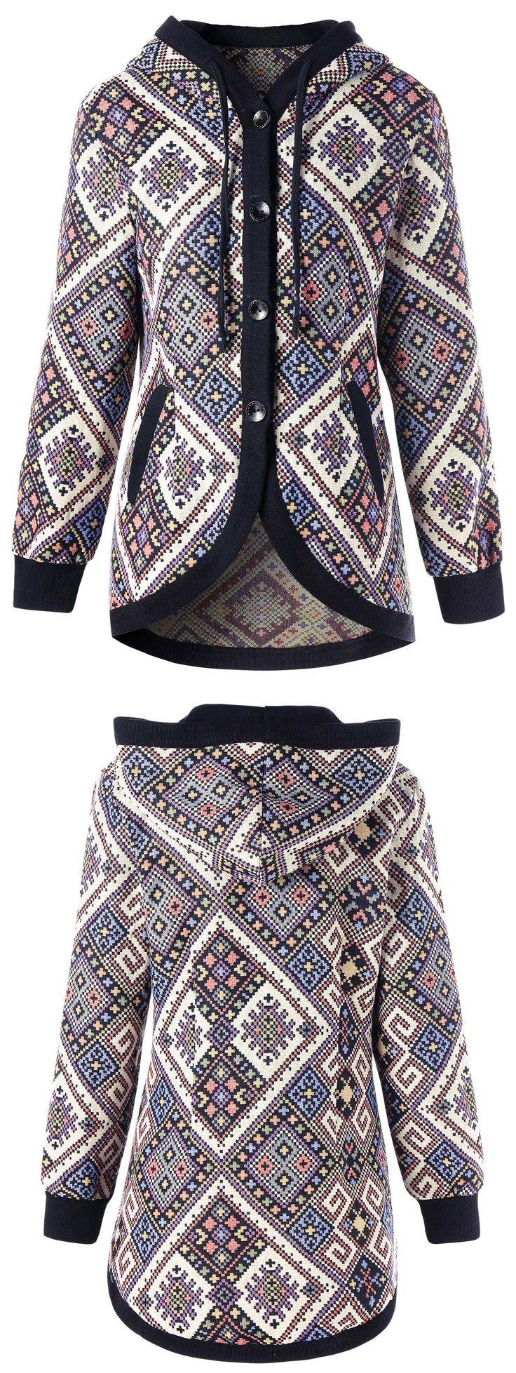 Drawstring Hooded Geometric Tunic Coat
