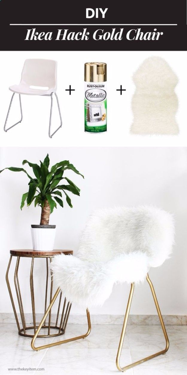 Best IKEA Hacks and DIY Hack Ideas for Furniture Projects and Home Decor from IKEA - DIY IKEA Hack Gold Chair - Creative IKEA Hack Tutorials for DIY Platform Bed, Desk, Vanity, Dresser, Coffee Table, Storage and Kitchen, Bedroom and Bathroom Decor diyjoy.com/...
